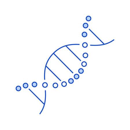 linear blue dna molecule icon