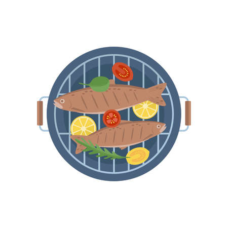 two fish grilled with vegetables Vektoros illusztráció