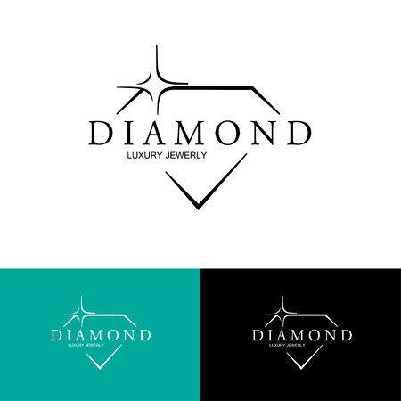 diamond stones: Icon with Stylized Diamond.  Illustration