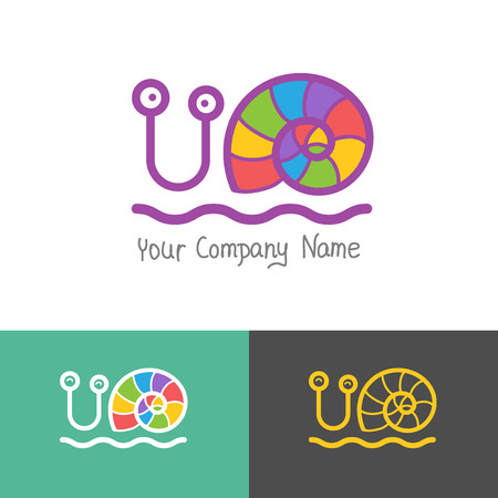 steady: Colored stylized snail icon set in a flat style.