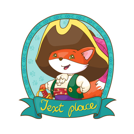 playschool: Cute fox in costume pirate hat and sword. Card concept. White background. Print for T-shirt, sticker.