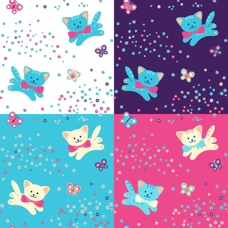 purple butterfly:  seamless pattern with cute cats or kittens, flowers and butterfly on white, pink, purple and blue background.