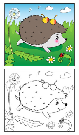Coloring Book or Page Cartoon Illustration of Funny hedgehog and Insect for Children. Illustration
