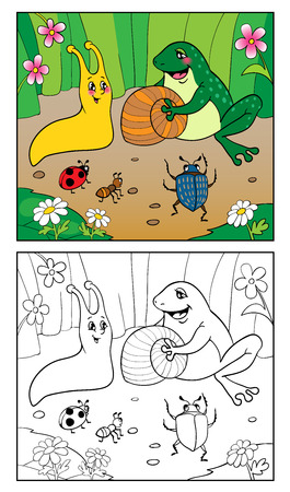 cartoon snail: Coloring Book or Page Cartoon Illustration of Funny Snail, Insect and frog for Children. Page four. Illustration