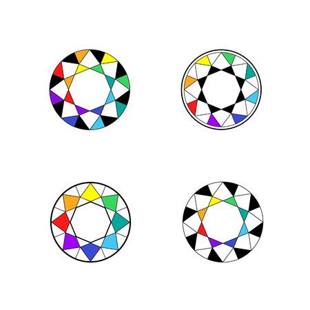convergence: Circle colorful icon, diamond logo.