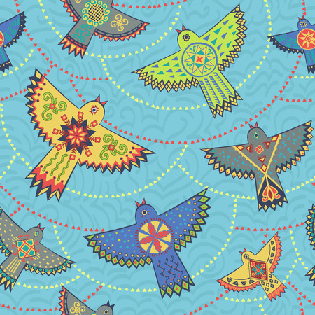 repeat texture: Seamless pattern. Folk stylish background. Vector repeat texture with stylized birds and circles.