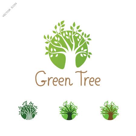 Green Circle Tree vector   design template. Garden creative concept. Eco idea ecology icon. Illustration