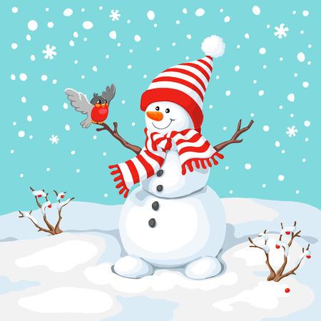 Vector del muñeco de nieve con el pájaro. Saludo del muñeco de nieve. Tarjeta de felicitación linda de la Navidad con el muñeco de nieve y camachuelo. Tarjeta de felicitación con muñecos de nieve y nevadas. Ilustración para el diseño de Navidad. Ilustración de vector