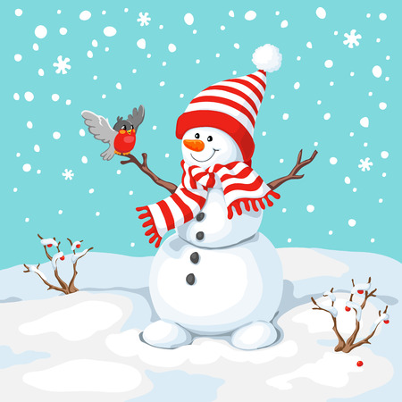 snow cap: Vector snowman with bird. Snowman greeting. Cute Christmas greeting card with snowman and bullfinch. Greeting card with snowmen and snowfall. Illustration for Christmas design.