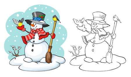 two birds: Coloring book or page, illustration. Vector card concept - Cute snowman with broom and two birds.