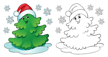 Coloring book or page, illustration. Christmas tree with snowflakes. Illustration