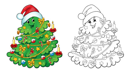 page: Coloring book or page, illustration. Christmas tree with decorations. Greeting card concept.