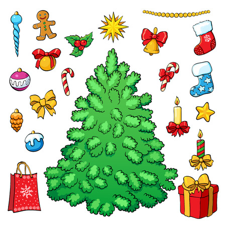 tree decorations: Christmas vector set. Christmas tree with decorations.