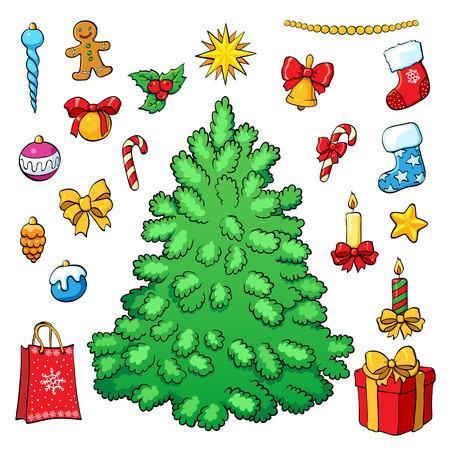Christmas vector set. Christmas tree with decorations.