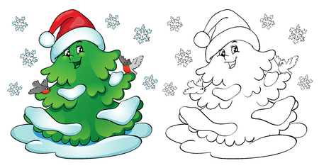 Coloring book or page, illustration. Christmas tree with bullfinches and snowflakes. Illustration