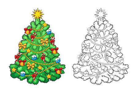 star ornament: Coloring book or page, illustration. Christmas tree with decorations. Greeting card concept.
