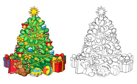 COLOURING: Coloring book or page, illustration. Christmas tree with decorations and gifts. Greeting card concept.