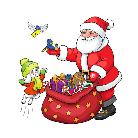 Coloring Book Or Page Santa Claus Rabbit And Birds With Christmas