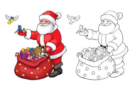 claus: Coloring book or page. Santa Claus and birds with Christmas gifts. Illustration