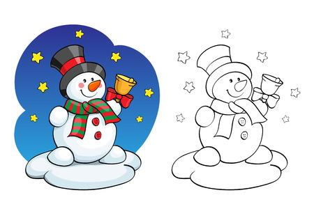 carrot tree: Coloring book or page, illustration. Vector card concept - Cute snowman.