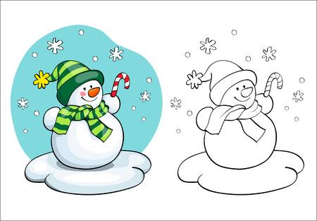 Kleurboek of pagina, illustratie. Vector card concept - Leuke sneeuwman. Stock Illustratie