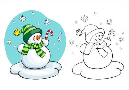 Coloring book or page, illustration. Vector card concept - Cute snowman.