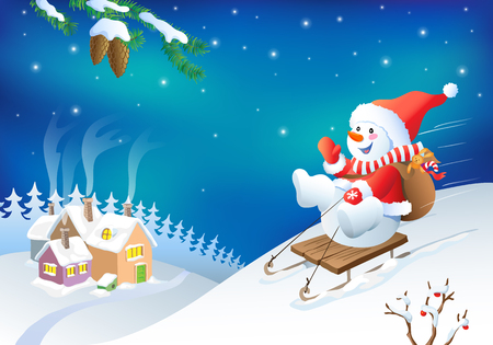 snow white: Vector Christmas greeting card with fanny snowman. New year card design.