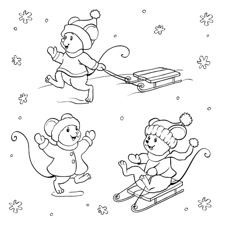 Coloring book or page. Vector set with fanny mouses . Иллюстрация