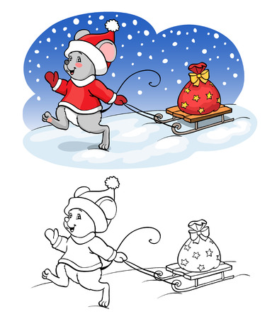 year of rat: Coloring book or page. Vector mouse with sled and gift.