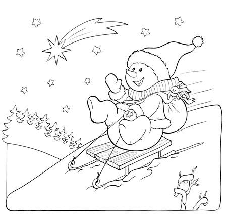 trineo: Libro de colorante o página. Fanny muñeco de nieve en el trineo con regalos y estrellas.