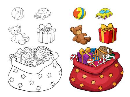 책이나 페이지를 색칠합니다. 크리스마스 선물의 집합입니다. 상자, 곰, 자동차 및 공입니다. 일러스트