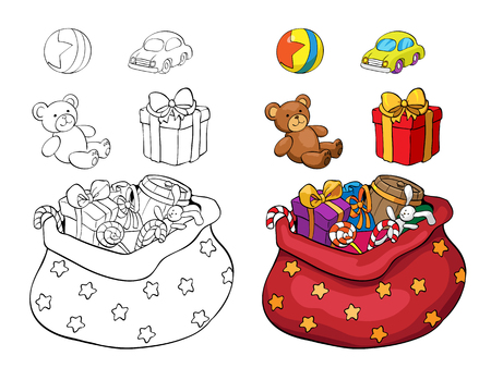 Coloring book or page. Set of Christmas gifts. Box, bear, car and ball. Illustration