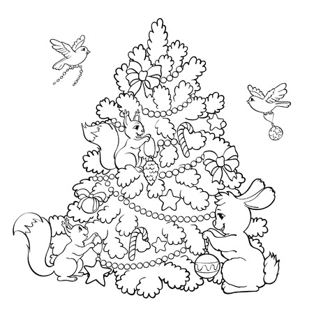 Coloring book or page. Rabbit, squirrels and birds decorate the Christmas Tree. Illustration