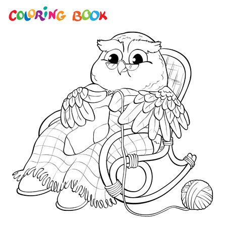 luna caricatura: Coloring book or page - old owl in a chair knitting a sock.