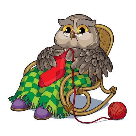 Vector illustration - old owl in a chair knitting a sock.