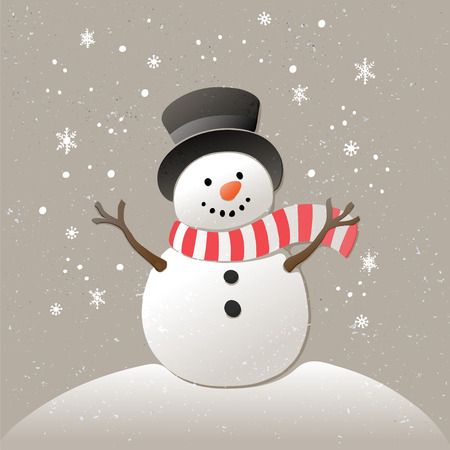 Christmas background with snowman and snowflakes. New year illustration.