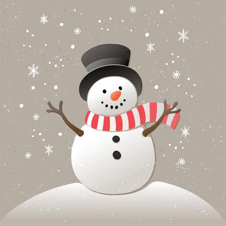 Weihnachten Hintergrund mit Schneemann und Schneeflocken. Abbildung des neuen Jahres. Standard-Bild - 47046463