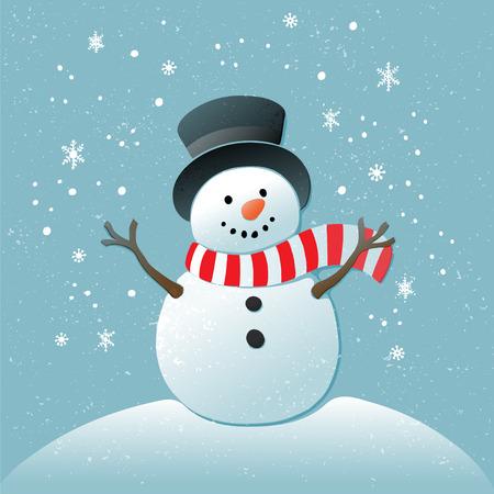 Kerstmis achtergrond met sneeuwpop en sneeuwvlokken. Nieuwe jaar illustratie. Stock Illustratie