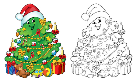 coloring book or page illustration christmas tree with decorations and gifts greeting card