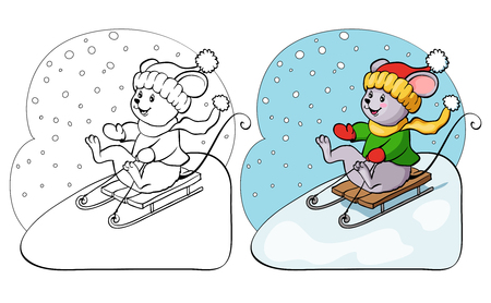 year of rat: Coloring book or page. Vector mouse on sled.