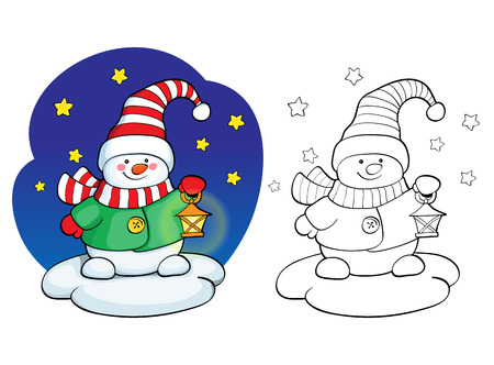 isolated tree: Coloring book or page, illustration. Vector card concept - Cute snowman.
