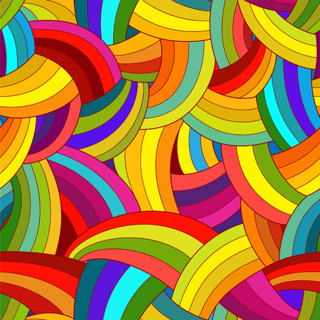 Vector abstract seamless pattern. Colorful rainbow background.