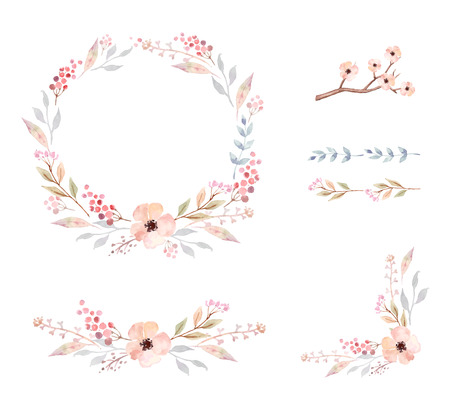 retro flowers: Floral Frame Collection. Set of cute retro flowers arranged un a shape of the wreath perfect for wedding invitations and birthday cards