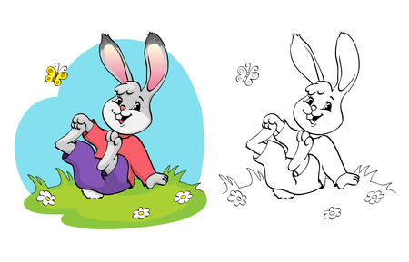 Coloring book or page. Cute rabbit in a meadow among the daisies and butterfly.