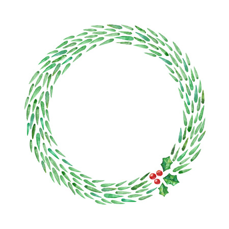 christmas tree illustration: Christmas tree branches in the wreath. Watercolor illustration. Christmas frame.