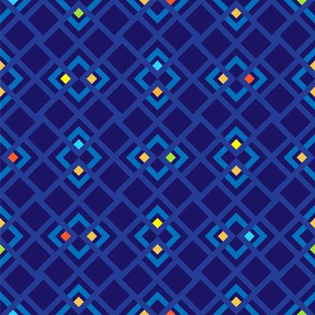 azul marino: Modelo inconsútil del vector con los cuadrados rojos, verdes, amarillos y azules sobre fondo azul marino.
