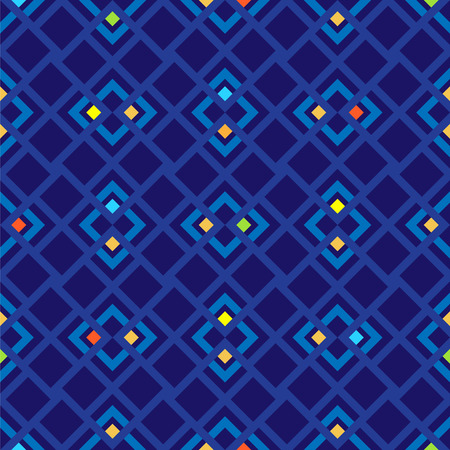 navy blue background: Seamless vector pattern with red, green, yellow and blue squares on navy blue background.