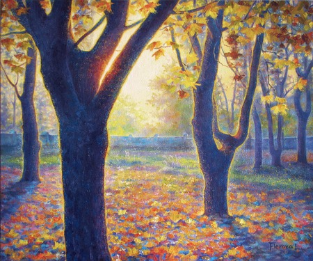 oil park: Oil painting on canvas. Park in the fall. Autumn landscape.