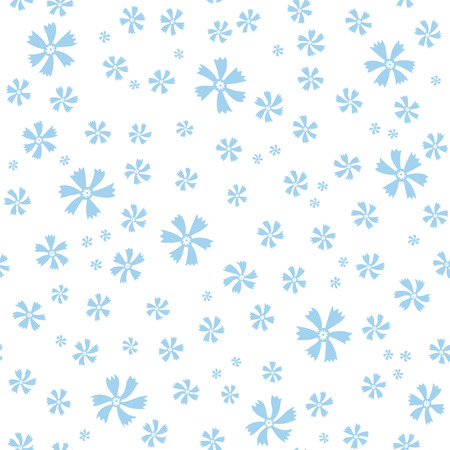 page background: Ornate seamless pattern with small blue flowers on white background. Seamless pattern for wallpaper, pattern fills, web page background, surface textures.