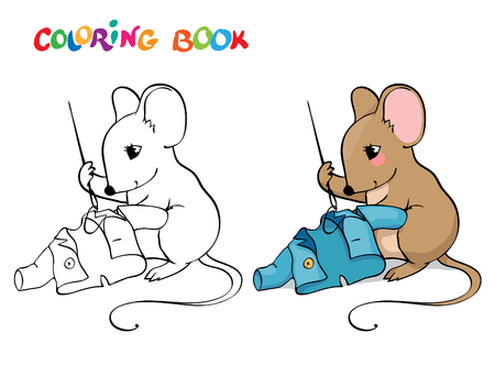 rata caricatura: Coloring book or page. Mouse with a needle and thread sewing a jacket.
